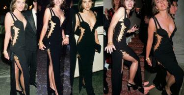 Black Versace dress of Elizabeth Hurley- famous dresses